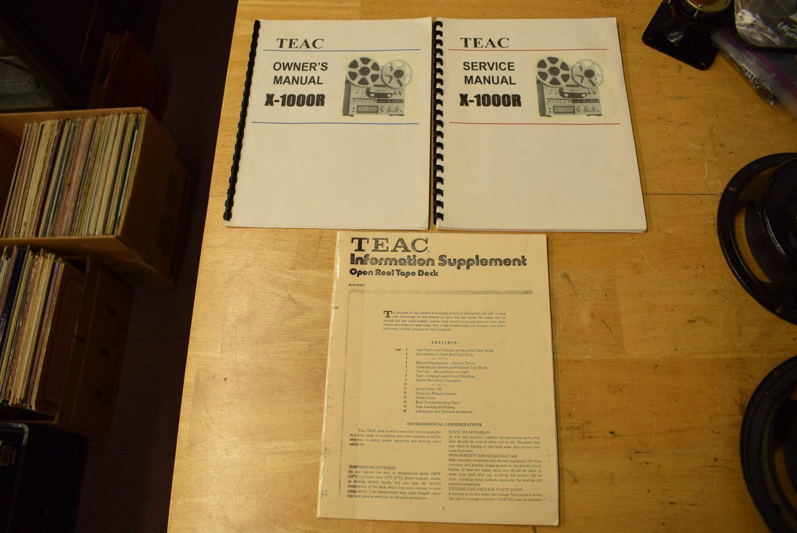 Teac Reel to Reel Manuals - Model: X-1000R